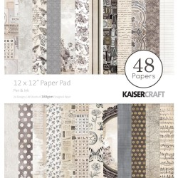 KAISERCRAFT PEN AND INK PAPER PACK 30X30CM