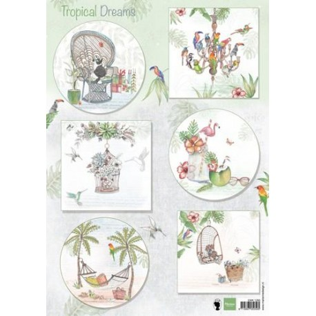 MARIANNE D DECOUPAGE SHEET, ELS TROPICAL DREAMS