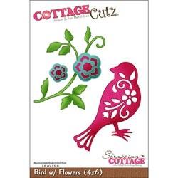Cottage Cutz Die 4x6 Bird with Flowers, die mesure 10x15cm