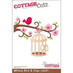 Cottage Cutz Die 4x6 Whimsy Bird with Cage, die mesure 10x15cm