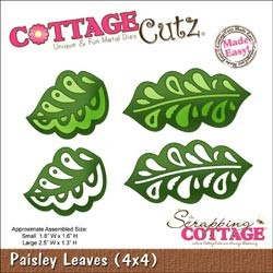 Cottage Cutz Die 4x4 Paisley Leaves Made Easy, die mesure 10x10cm