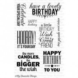 MFT BIRTHDAY GREETINGS CLEAR STAMPS