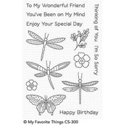 MFT FLUTTERING FRIENDS  CLEAR STAMPS and DIES SET