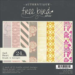 AUTHENTIQUE PAPER PAD FREE BIRD BLUSH AND DELIGHT