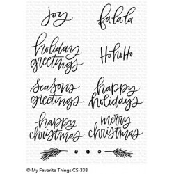 My favorite Things :HAND-LETTERED HOLIDAY GREETINGS CLEAR STAMPS