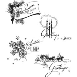 TIM HOLTZ CLING STAMPS HOLIDAY GREETINGS