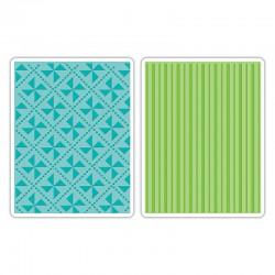 SIZZIX TIM HOLTZ EMBOSSING FOLDER 2 PCES, PINWHEELS AND STRIPES