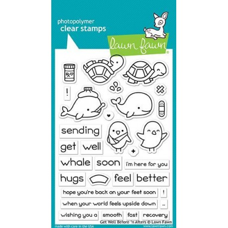 LAWN FAWN CLEAR STAMPS GET WELL BEFORE 'N AFTERS