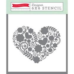 Echo Park Paper  Floral Heart Stencil 15x15 cm
