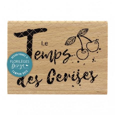 FLORILEGES DESIGN Tampon Bois LE TEMPS DES CERISES COLLECTION OH CHERRY
