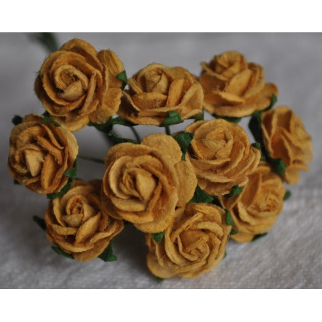 FLOWERS MULBERRY ROSE 15 MM OLD GOLD, 10 PCES