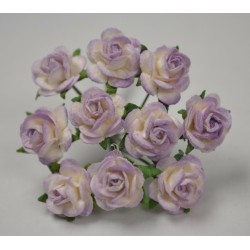 FLOWERS MULBERRY ROSE 15 MM TON SUR TON LILAC WHITE, 10 PCES