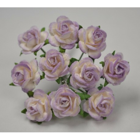 FLOWERS MULBERRY ROSE 15 MM TON SUR TON LILAC WHITE, 10 PCES