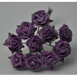 FLOWERS MULBERRY ROSE 15 MM DARK LILAC VIOLET, 10 PCES