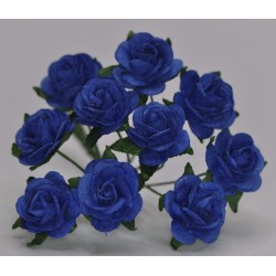 FLOWERS MULBERRY ROSE 15 MM DARK ROYAL BLUE, 10 PCES