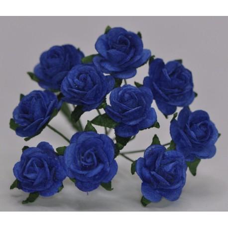 FLOWERS MULBERRY ROSE 15 MM DARK ROYAL BLUE, 10 PCES