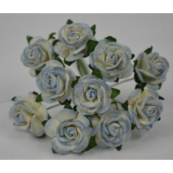 FLOWERS MULBERRY ROSE 15 MM TON SUR TON BABY BLUE, 10 PCES