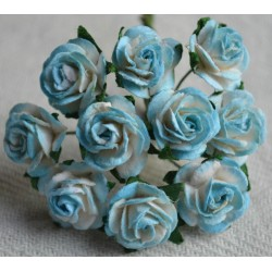 FLOWERS MULBERRY ROSE 15 MM TON SUR TON CYAN BLUE, 10 PCES