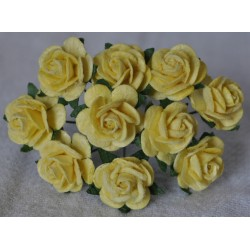 FLOWERS MULBERRY ROSE 15 MM LIGHT YELLOW, 10 PCES