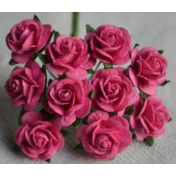 FLOWERS MULBERRY ROSE 15 MM DEEP PINK ROSE, 10 PCES