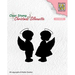 NELLIES CHOICE CLEARSTAMP ANGEL GIRL AND BOY
