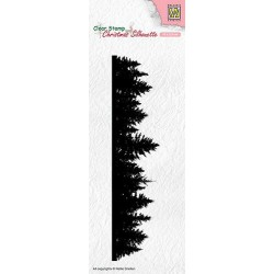 Nellies Choice Christmas Silhouette Clear stamps Pine tree border