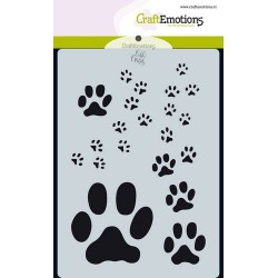 CRAFTEMOTIONS mask stencil PAW PRINTS