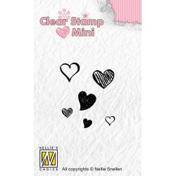 NELLIES CHOICE MINI CLEARSTAMP HEARTS