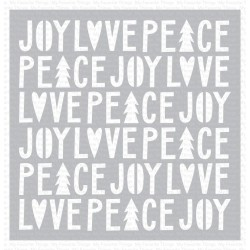 MIX-ABLES PEACE, LOVE AND JOY STENCIL 15X15 CM