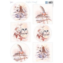 MARIANNE D DECOUPAGE SHEET, MATTIE'S BEAUTIFUL WINTER BIRDS A4