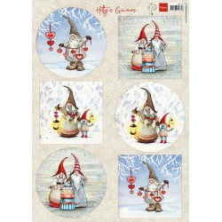 MARIANNE D DECOUPAGE SHEET, HETTIES WINTER GNOMES A4
