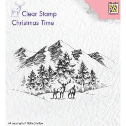 Nellies Choice Clearstamp - Christmas time Winterlandscape with deer