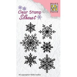 Nellie's Choice Silhouette Clear Stamps 6 Snowflakes  65x23mm
