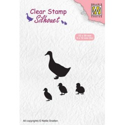 NELLIES CHOICE CLEARSTAMP SILHOUETTE DUCK WITH CHICKS