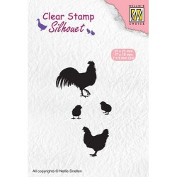 NELLIES CHOICE CLEARSTAMP SILHOUETTE CHICKEN FAMILY