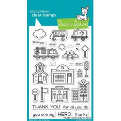 LAWN FAWN VILLAGE HEROS CLEAR STAMPS