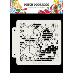 Dutch Doobadoo STENCIL MASK ART GRUNGE CLOCK