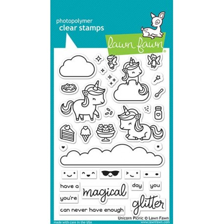 LAWN FAWN UNICORN PICNIC CLEAR STAMPS