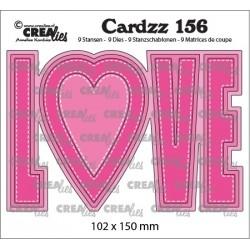 Crealies CARDZZ 156, LOVE. Cardsize