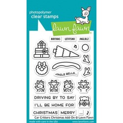 LAWN FAWN CLEAR STAMPS CAR CRITTERS CHRISTMAS ADD-ON