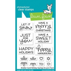 LAWN FAWN CLEAR STAMPS SHUTTER CARD HOLIDAY SAYINGS