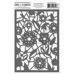 CHOU & FLOWERS POCHOIR A6 DENTELLE ESPRIT COTTAGE