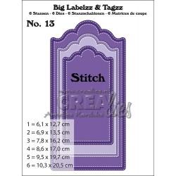 Crealies Big Labelzz & Tagzz stansen no. 13, with Stitchline