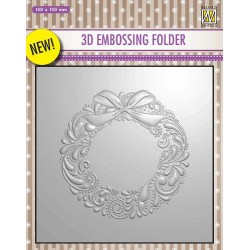 NELLIES CHOICE 3D EMBOSSING FOLDER CHRISTMAS WREATH 15X15CM