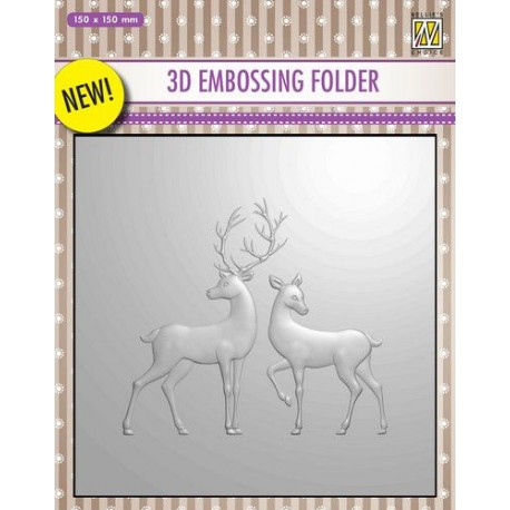 NELLIES CHOICE 3D EMBOSSING FOLDER REINDEER 15X15CM