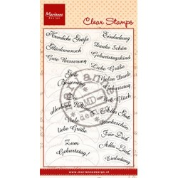 MARIANNE DESIGN CLEAR STAMPS ANJA'S LABEL WUNSCHE DEUTSCH