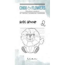 CHOU & FLOWERS TAMPONS CLEAR DOUDOU LION DANS LA LUNE