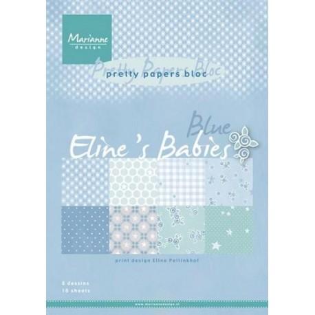 MARIANNE D PAPER PAD ELINES BABIES BLUE, FORMAT A4, 16 FEUILLES, 8 DESIGNS DIFFERENTS.