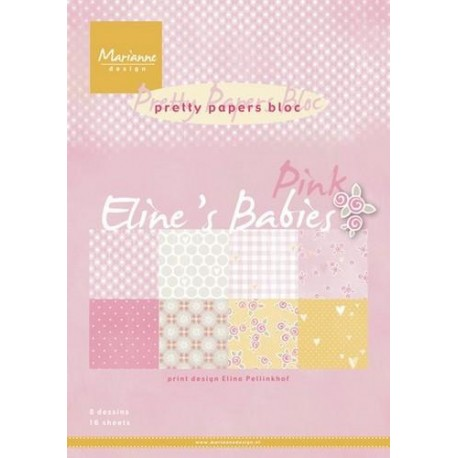 MARIANNE D PAPER PAD ELINES BABIES PINK, FORMAT A4, 16 FEUILLES, 8 DESIGNS DIFFERENTS.