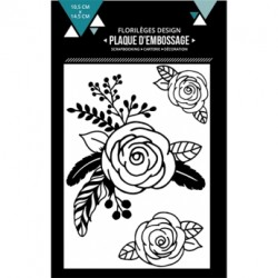 FLORILEGES DESIGN EMBOSSING FOLDER  TROIS ROSES